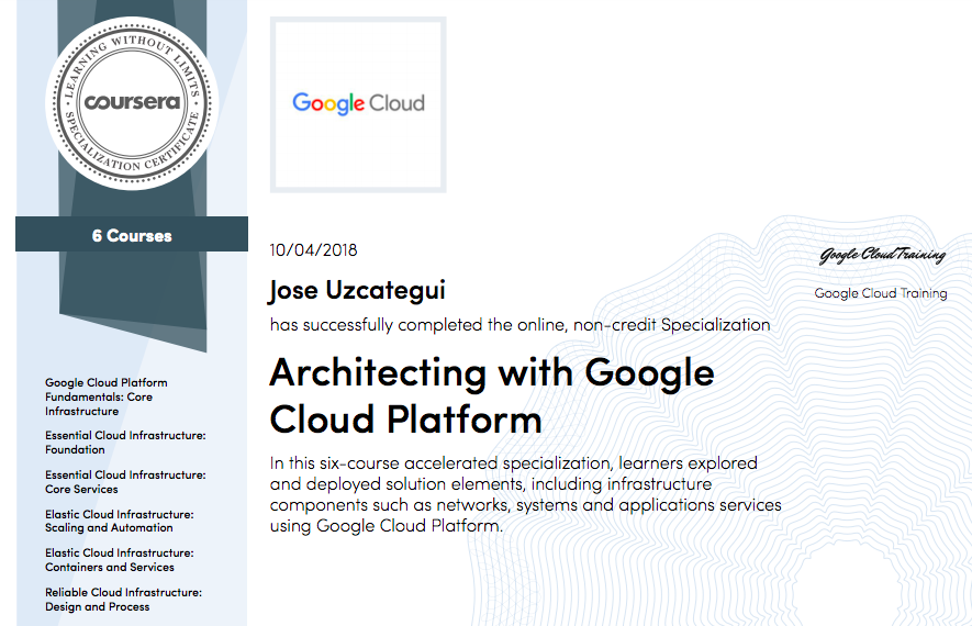 Architecting with Google Cloud Platform Certificate