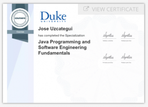 Java Programming and Software Engineering Fundamentals Certificate