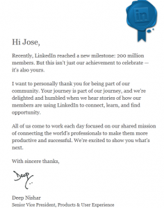 Top 5% Letter from LinkedIn